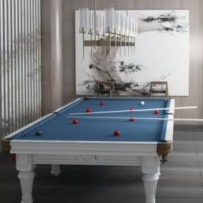 新中式台球桌台球室 3D模型【ID:940948568】