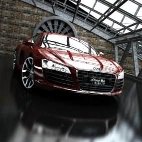现代奥迪红色跑车3D模型【ID:432494704】