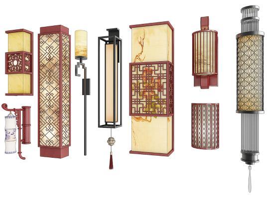中式壁灯组合3D模型【ID:752659959】