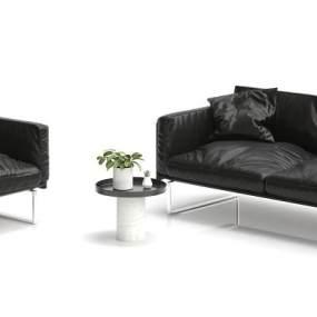 现代黑色皮沙发3D模型【ID:633069776】