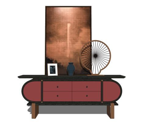 新中式玄关柜端景台摆件组合SU模型【ID:253383222】