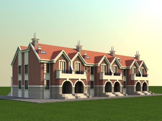 北欧联排别墅3D模型【ID:130863316】
