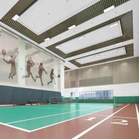 现代室内网球室3D模型【ID:945552403】