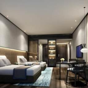 新中式酒店■客房�p人�g 3D模型【ID:741985356】