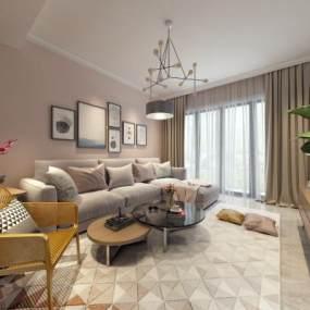 北欧客厅组合沙发3D模型【ID:536052003】