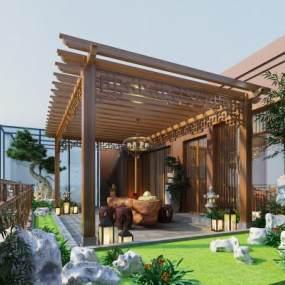 新中式屋頂花園3D模型【ID:548288647】