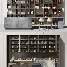 现代酒柜酒吧台组合3D模型【ID:647097210】