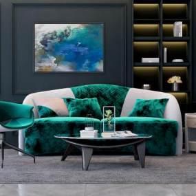 现代沙发茶几组合3D模型【ID:634468742】