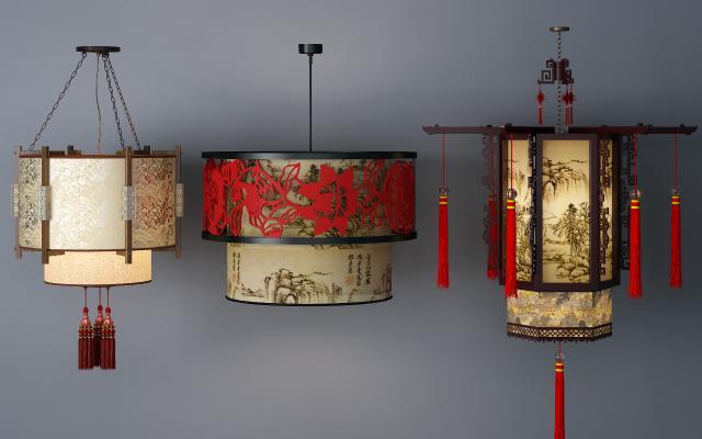 中式吊灯3D模型【ID:732336826】