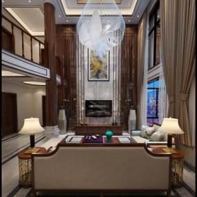 新中式复式客厅 3D模型【ID:541396047】