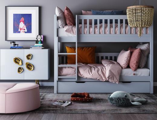 现代儿童床3D模型【ID:853906899】