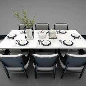 現代風格餐桌3D模型【ID:848179838】