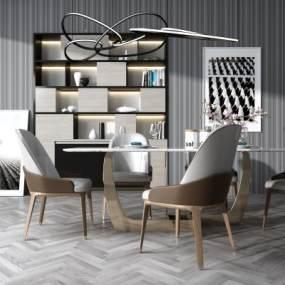 现代餐桌椅组合3D模型【ID:836163852】