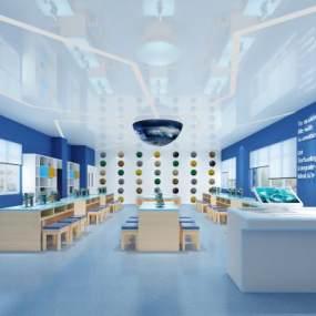 现代幼儿园教室活动室3D模型【ID:936003675】