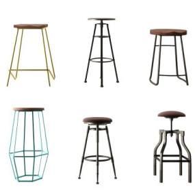 现代铁艺吧椅组合3D模型【ID:735828290】