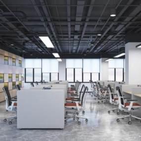 现代敞开式办公区3D模型【ID:948603016】