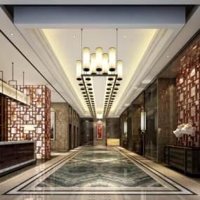 新中式酒店門廳3D模型【ID:746712080】