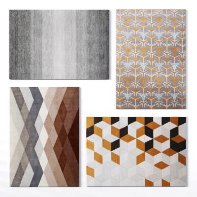 现代布艺方形地毯3D模型【ID:341738286】