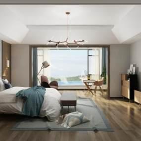 现代卧室主人房 3D模型【ID:540975292】