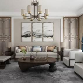 新中式沙发组合3D模型【ID:635848774】