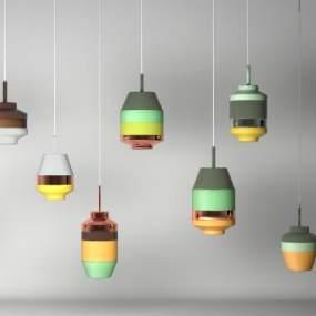現代色塊拼接吊燈組合3D模型【ID:752601856】