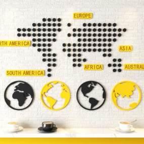 北欧世界地图墙饰壁饰3D模型【ID:235764733】