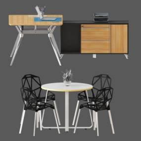现代办公桌椅组合3D模型【ID:935418105】