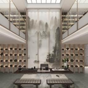 新中式別墅茶室3D模型【ID:546534057】