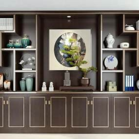 中式酒柜装饰柜摆件组合3D模型【ID:650372229】