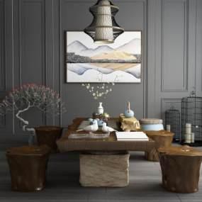 新中式实木泡茶桌椅石柱鸟笼吊灯组合 3D模型【ID:640822863】