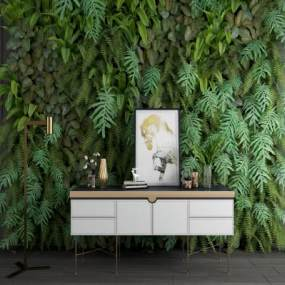 现代玄关柜边柜金属落地灯绿植墙组合 3D模型【ID:141384050】