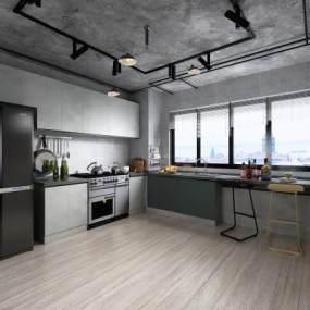 工業風廚房3D模型【ID:550665305】