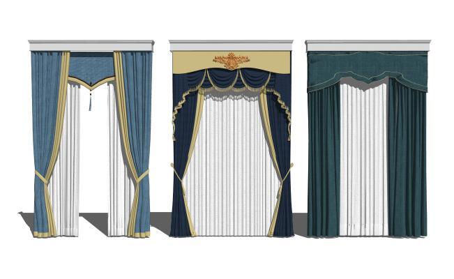 歐式窗簾組合SU模型【ID:948563411】