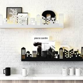 现代墙面装饰架壁灯组合3D模型【ID:235764731】