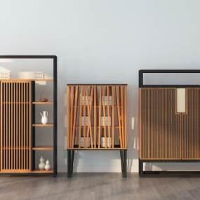中式实木装饰柜组合3D模型【ID:136092152】
