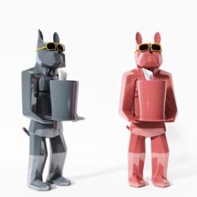 現代狗雕塑3D模型【ID:344072106】