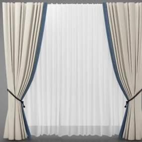 新中式风格装窗帘3D模型【ID:245672602】