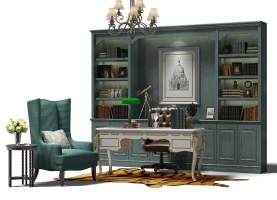 美式书柜3D模型【ID:132094591】