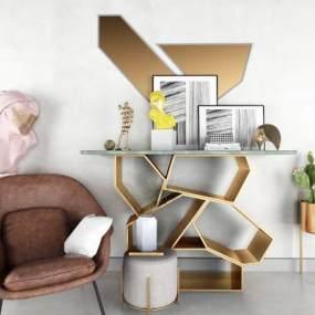 现代沙发茶几摆件组合3D模型【ID:235302522】