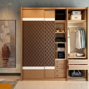 現代實木衣柜3D模型【ID:134664451】