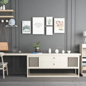 北欧实木电视柜边柜写字桌墙饰组合 3D模型【ID:140859151】