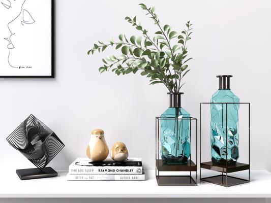 北欧轻奢玻璃花瓶饰品摆设品 创意玻璃花瓶