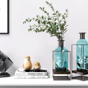北歐輕奢玻璃花瓶飾品擺設品3D模型【ID:249035569】