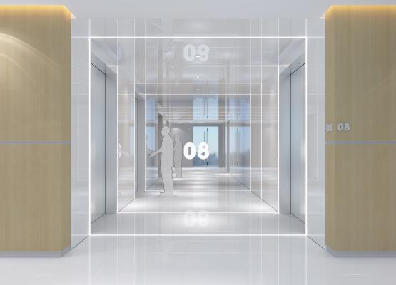 现代电梯厅3D模型【ID:744458695】
