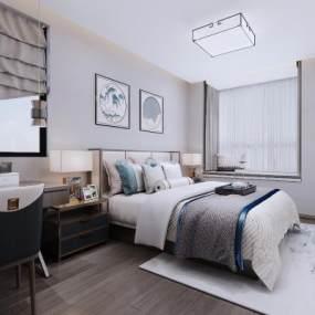 新中式卧室 3D模型【ID:541487276】