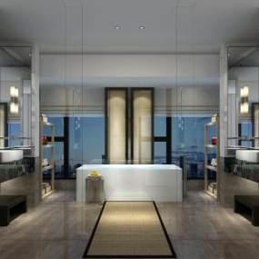 新中式酒店卫生间3D模型【ID:434500156】