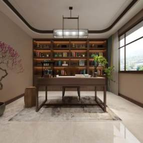 中式书房3D模型【ID:544302432】