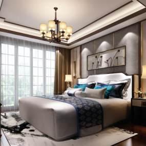 新中式卧室3D模型【ID:533564227】