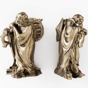 中式人物铜雕塑3D模型【ID:332354144】