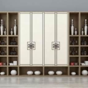 新中式装饰柜酒柜书柜组合3D模型【ID:130544119】